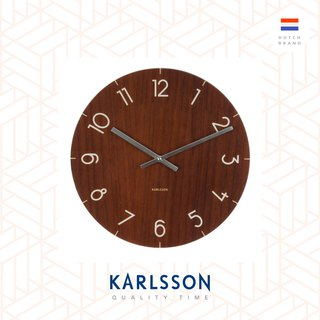 Karlsson, 仿深木紋玻璃掛鐘 Wall clock Glass Dark wood