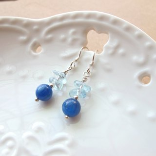 [Ice Drop] Sea Water Sapphire x Kyanite x 925 Silver - Earrings