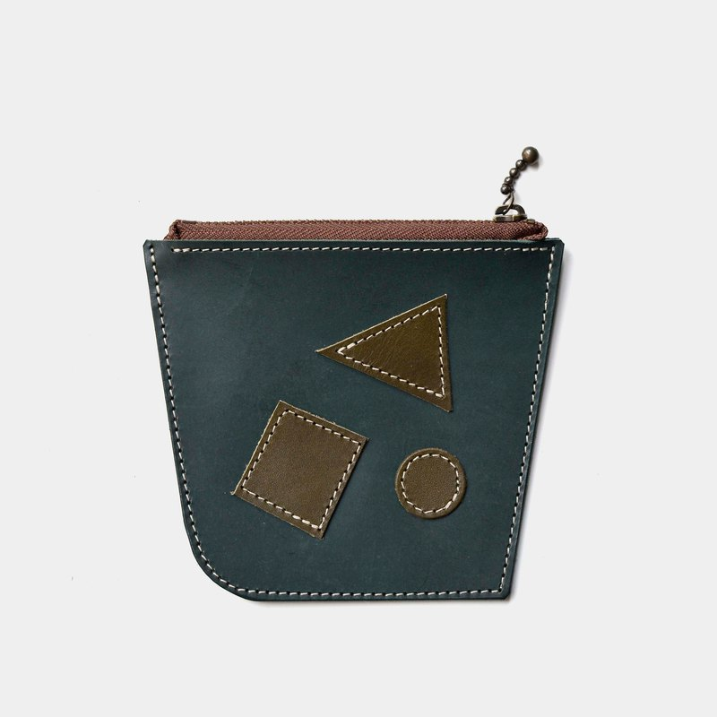 [Mathematician's olive tree] vegetable tanned leather purse green leather zipper wallet lettering gift