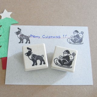 Christmas handmade rubber stamp Santa and reindeer