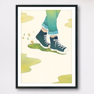 <Walk> - Slow living collection/ Art print (with cardboard frame) Wall decor