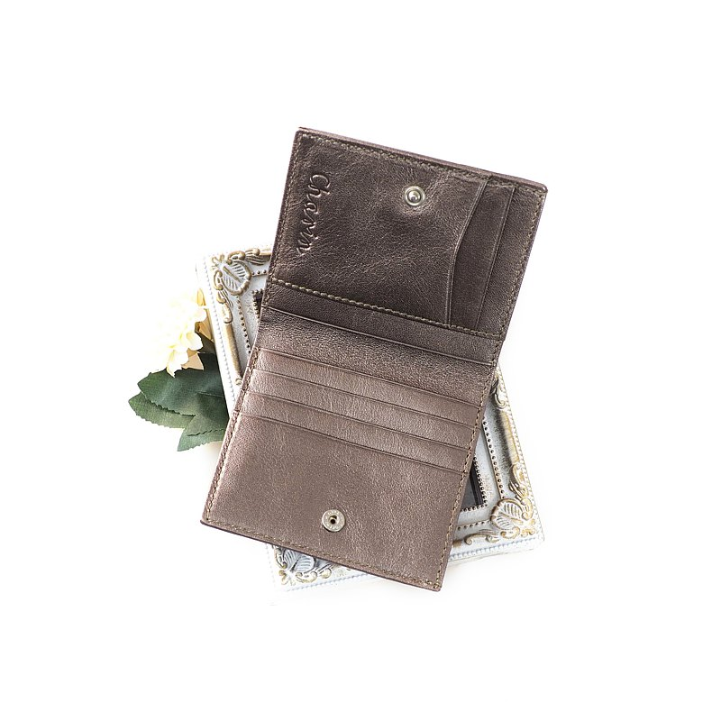 Hannah (Dark Silver) : Small leather short wallet, folded wallet, Slim