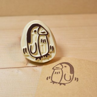 Shaking penguin handmade rubber stamp