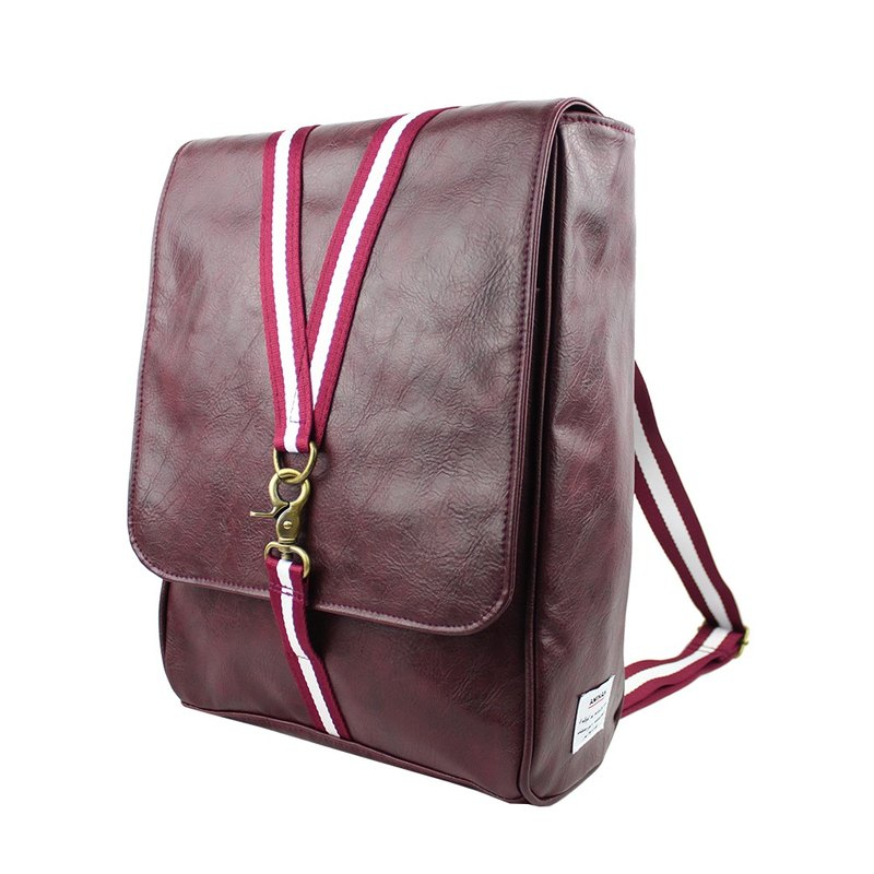 AMINAH-purple hook buckle dual-use backpack [am-0297]