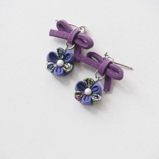 Cute Purple bow and Flower Drop Earrings Clip-on 14KGF, S925 custom