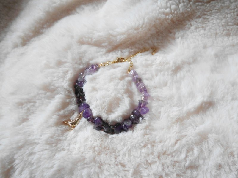 Amethyst Bracelet | 18K Gold Plated Brass & Small Sparrow