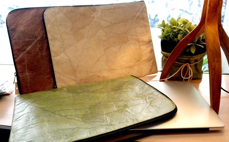 Mr.Leaf- teak leaf texture L-shaped opening file package - can be installed 15 inch MAC laptop