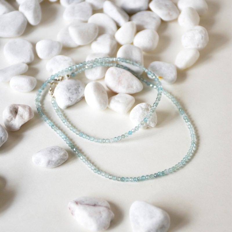 Handmade Sterling Silver with Tiny Apatite Beads Necklace