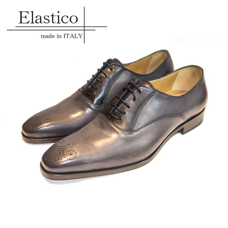 Elastico Italian badged carved Oxford shoes #7216 silver gray - ARGIS Japanese handmade