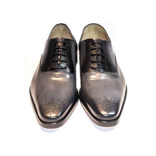 Elastico Italian badged carved Oxford shoes  7216 silver gray - ARGIS  Japanese handmade - Designer ARGIS Japan Handmade Leather Shoes  5fbea31049f