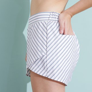Stripe Shorts - Grey / Peach