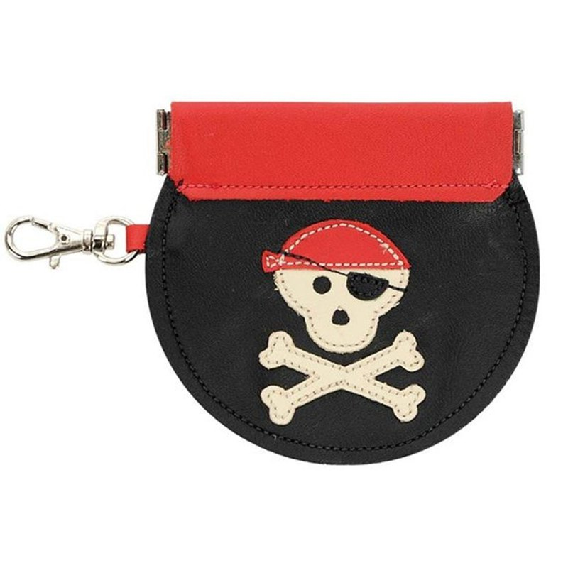 Handmade leather leather lip-type coin purse with key ring pirate