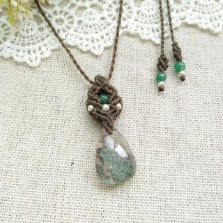 BUHO hand-made. Tsui exquisitely. Green Wraith Crystal X South American Brasil Necklace