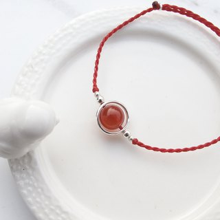 Big staff Taipa [manual silver] red agate × globe Brazilian wax rope bracelet handmade sterling silver