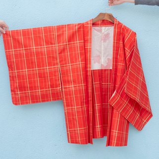 Vintage kimono / is red silk plaid feather weaving