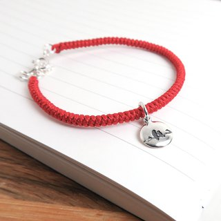 Valentine Birds Love Letter 925 Sterling Silver Braided Bracelet - Red