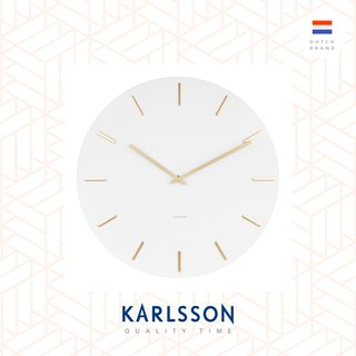 Karlsson Wall clock Charm steel white with gold battons