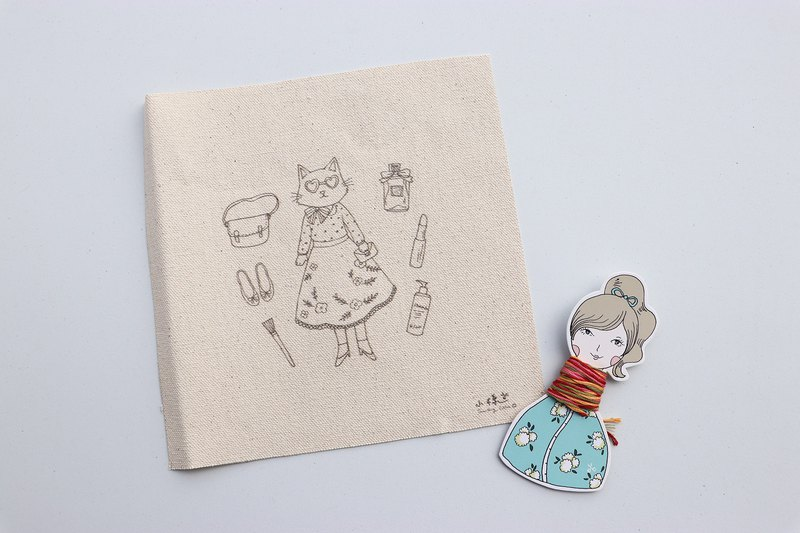 Shopping mad cat lady illustration embroidery material package