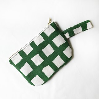 Take away - Green Grid Special - 1000-minute handmade coin purse carry bag