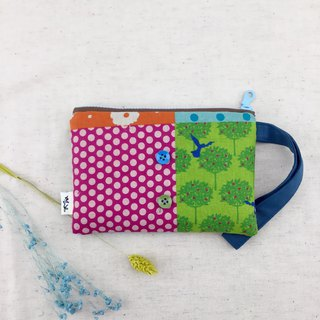 Colorful stitching style - hand holding purse / cosmetic bag / sundries bag - light and practical