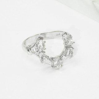 Edith & Jaz • Herkimer Diamond Horseshoe Silver Ring