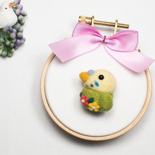 Needle-felted Flower Parrot (brooch/key ring/phone strap)