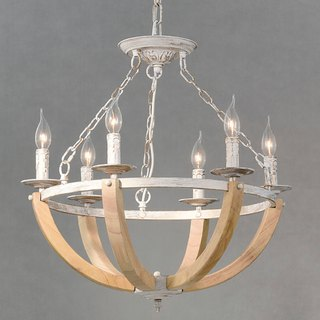 Half ring distressed candlestick log 6 lamp chandelier