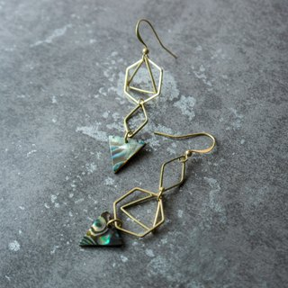 geometry. Natural triangle abalone shell long earrings