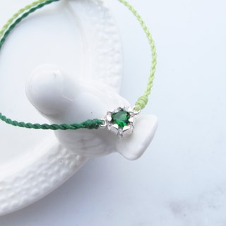 Big staff Taipa [handmade silver] green zircon × love × girlfriends × mother and daughter two-color wax rope bracelet