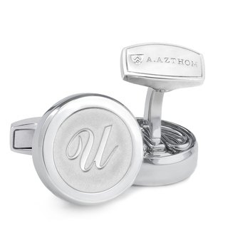 Monogram White Silver Cufflinks with Clip-on Button Covers (U,V,W,X,Y)