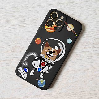 Corgi Dog Puppy in Space shuttle astronaut planet Pattern Black hard Phone Case