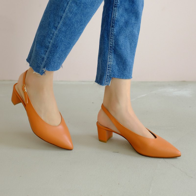 Soft skin-friendly leather! Adjust the proportion U mouth pointed shoes orange full leather MIT-carotene