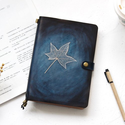 Such as Wei Maple Leaf Dyeing Series Shan Hai Lan 22 * ​​15.5cm Handbook Leather notebook diary TN Travel The creative gift Notepad can be customized Handmade