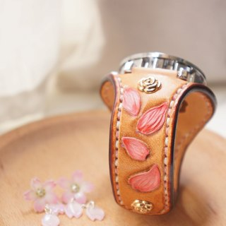 AT - handmade - cherry petal leather engraving hand strap with rose gold automatic table