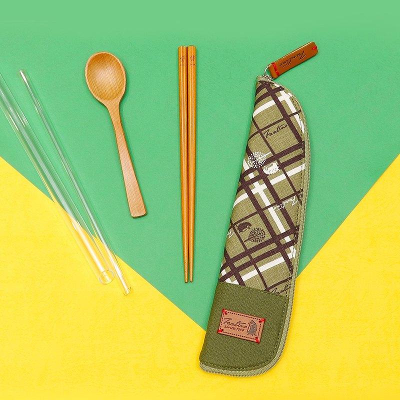 獨創布花 棉麻餐具袋::抹茶綠:: (格紋街區)環保餐具/交換禮物