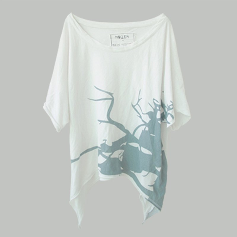Water slurry printing long loose casual T-shirt