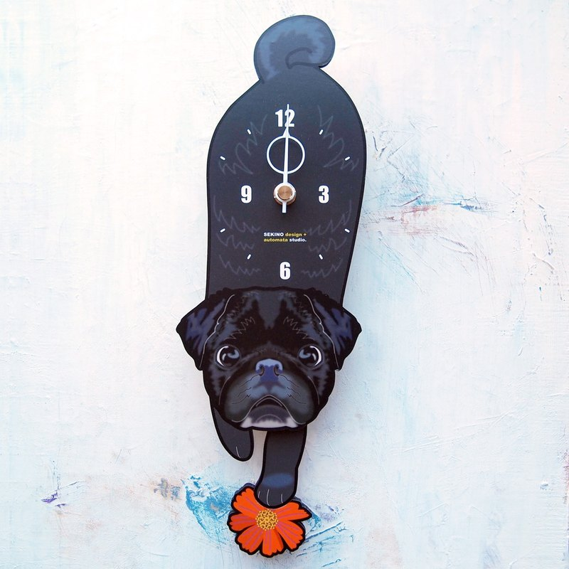 D-143 Black Pug - Pet's pendulum clock
