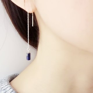 Lapis earrings S925 sterling silver earrings anti allergy