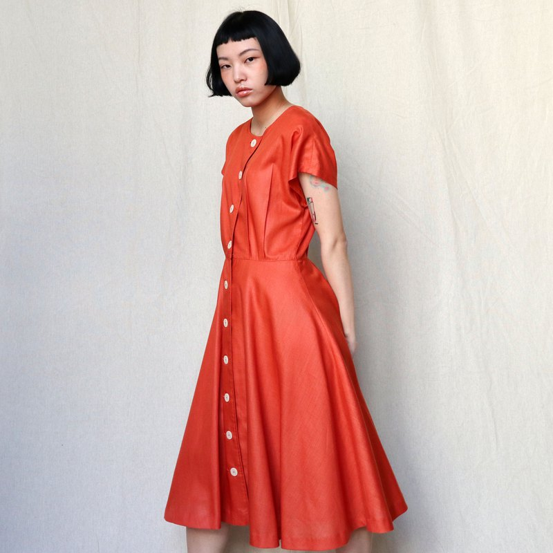 Pumpkin Vintage. Ancient orange wide round neck buckle dress