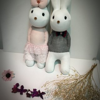 Music than the rabbit | hand-made sweet companion | Prince and Princess - gift, romantic lover, hand knitting, wedding decorations (custom male + female gray powder)