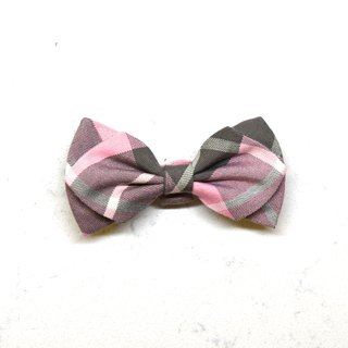 Handmade Tartan/ Plaid Pet Dog Collar Accessory - Bowtie - Pink Grid【ZAZAZOO】