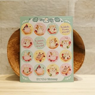 Small round sticker - toast rabbit / green