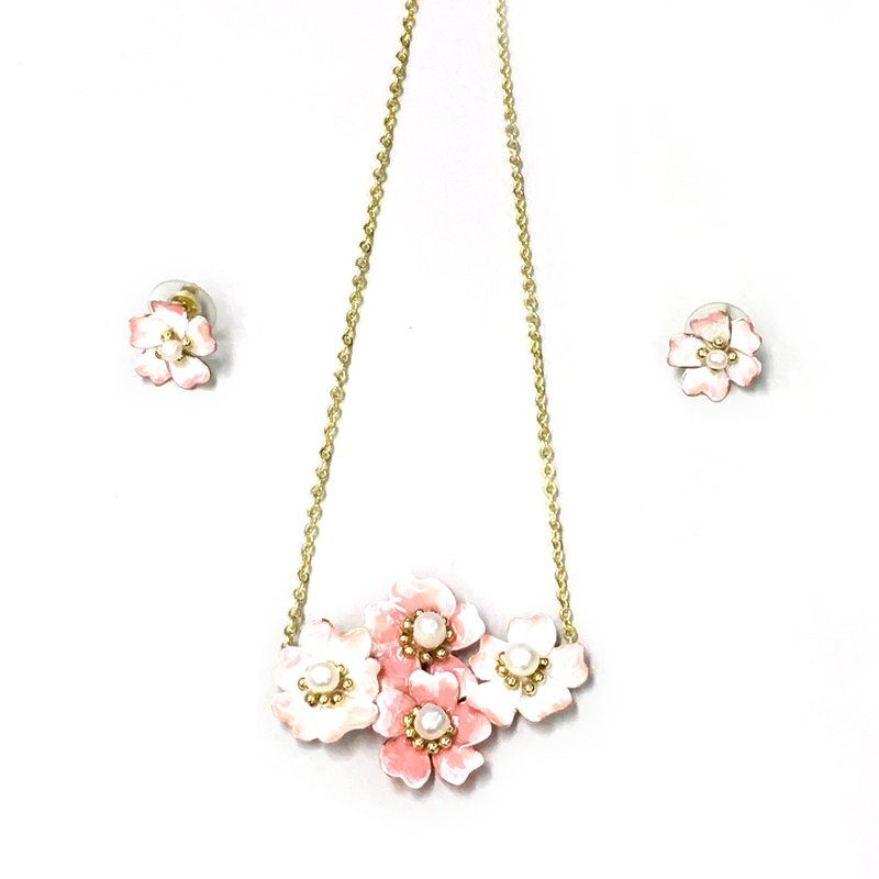 18k gold handmade copper jewelry set resin cherry blossom pink white pearl necklace earrings