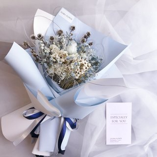 Flora Flower Graduation Bouquet Hand Bouquet Gift Box Graduation Gift Blue Dry Bouquet