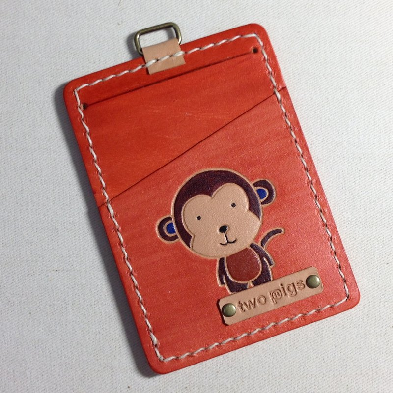 twopigs - two pigs playing leather handmade leather goods - leather ticket card holder / ID card sets / identification - monkey. Can be printed on the English name