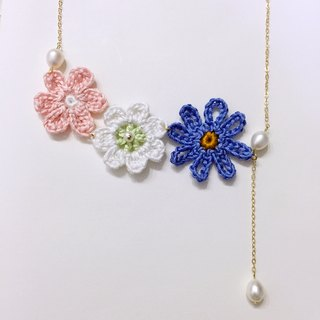 Summer aroma hand knitting flowers pearl necklace romantic fresh