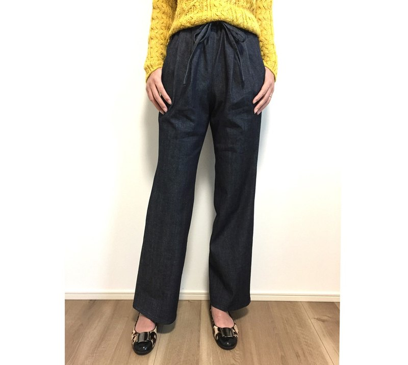 2 tuck denim wide pants (one wash) 【Size development available】