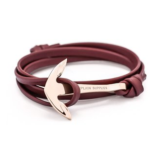Rose Gold Anchor Burgundy Leather Bracelet