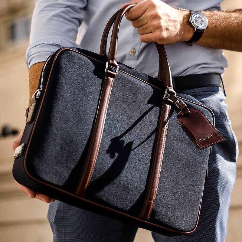 Maverick and Co. - Black Vibrant Leather-Trimmed Briefcase