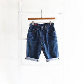 River Water Mountain - edwin 503 / W26 Miyagi Ouhai Deep Blue Summer Amusement Park Cotton Denim Shorts